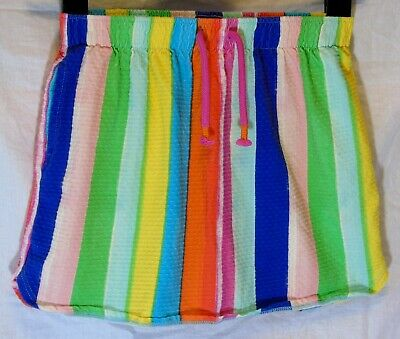Girls Next Green Blue Pink Red Multi Rainbow Stripe Textured Skirt Age 11 Years