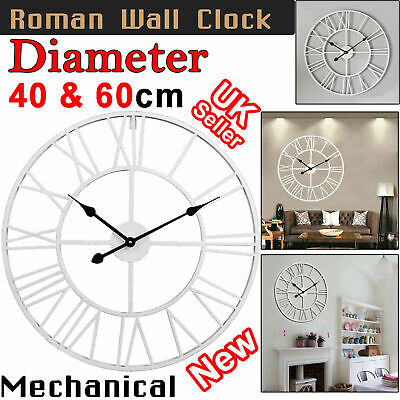 Large Roman Wall Clock Numerals 40CM 60CM Open Face Round Big Metal Garden Home