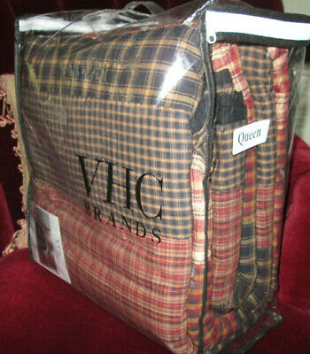 JCPENNEY VHC Quilt QUEEN RUSTIC FARMHOUSE PLAID dark red tan black