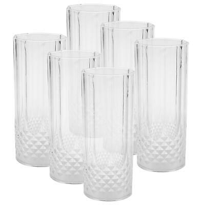 6pk Clear Crystal Effect Long Drink Glasses Plastic Highball Tumblers Reusable