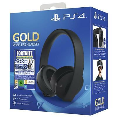 Cuffie Sony Ps4 Gold Wireless Headset Per Playstation 4 + Voucher Fortnite