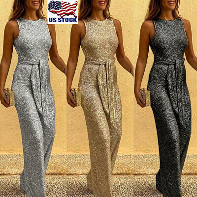 Women Sequin Clubwear Jumpsuit Sleeveless Bodycon Romper Backless Party Overalls