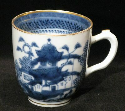 Antique Chinese Export Painted Blue & White Porcelain Teacup Pagoda Village Lake