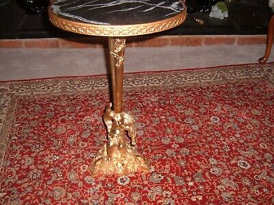 Antique Art Deco Solid Marble and Gilded Metal Exquisite Cherub Table