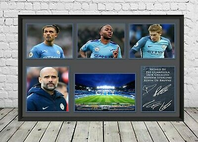 New Manchester City Man City Signed Photo Print Poster Football Memorabilia