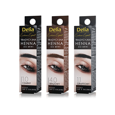 DELIA HENNA Traditional Tint Powder For Eyebrows BLACK or BROWN 2g Dye Kit