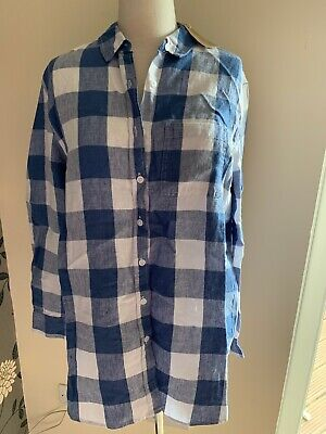 Joules Womens Jeanne Print 100% Linen Shirt in Blue Gingham Size 12 BNWT