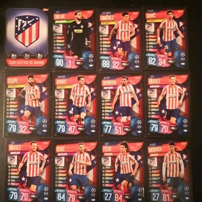 Match Attax 2019/20.  12 Card Team Set Athletico Madrid