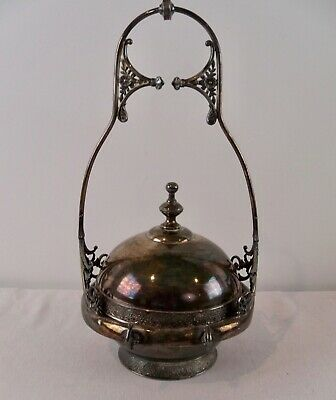 Antique Silver Plated Domed Covered Butter Dish Victorian 1880's