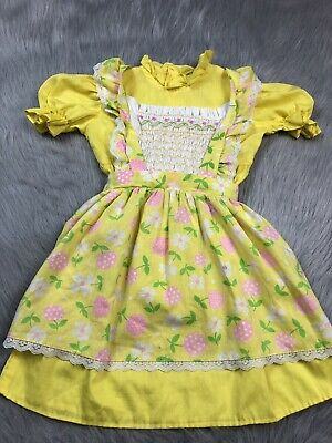 Vintage Girls Polly Flinders Yellow Pink Smocked Floral Pinafore Dress Set