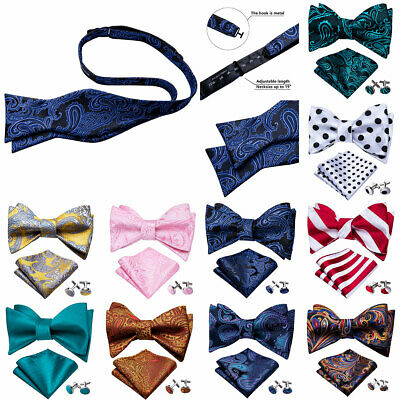 Mens Bow Ties Red Blue Pink Yellow Paisley Solid Floral Silk Bowtie Self Tie