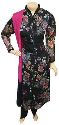 Pakistani Indian Printed Chiffon Suit, Casual Salwar Kameez Shalwar Stitched