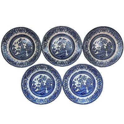 5x English Ironstone England Old Willow 6.75in Side Tea Plates Vintage Tableware