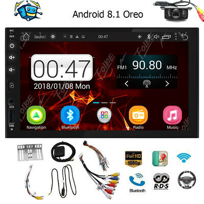 """Indash Car Stereo Bluetooth Double Din 7"""" Android 8.1 GPS Navigation Wifi Radio"""