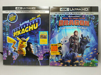 Pokémon Detective Pikachu + How To Train Dragon 3 4K+Blu-ray+Digital+Slip Cover