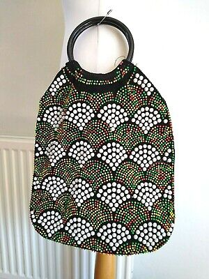 JAPANESE BEADED Vintage 1960s/1970s Black KITSCH Retro PLASTIC Circle Handle BAG