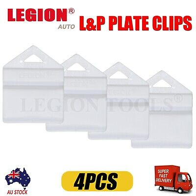 4X White Plate Clips L & P L And P Number Plate Holders 4Pcs Green Yellow Red Au