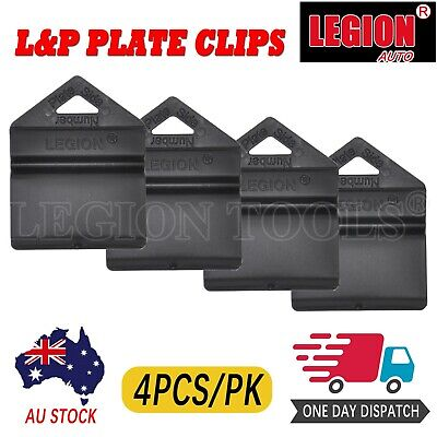 4X Black Plate Clips L & P L And P Number Plate Holders 4Pcs Green Yellow Red Au