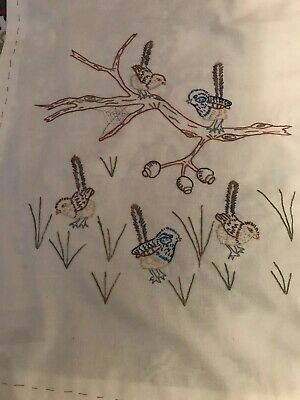 Embroidery - Hand Worked Australian Wrens