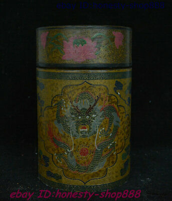 Collect Old China Wood Lacquerware Dragon Loong Beast Storage Jewelry Box Satue