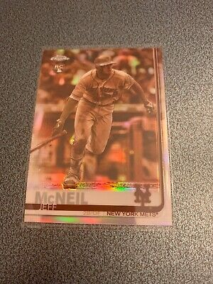 2019 Topps Chrome Jeff McNeil Rookie Lot 2 Refractors sepia and pink