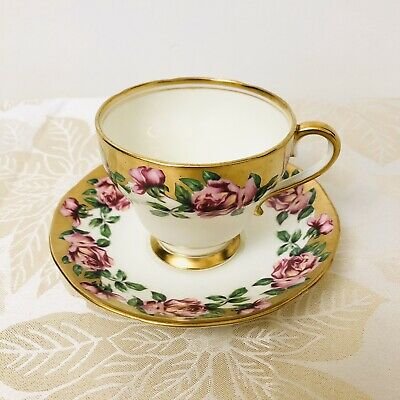 Salisbury Cabbage Rose Heavy Gold Teacup and Saucer Vintage