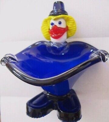 CLOWN FIGURINE with BOWL~MURANO~candy dish~VINTAGE~HAND BLOWN~ ITALIAN ART GLASS