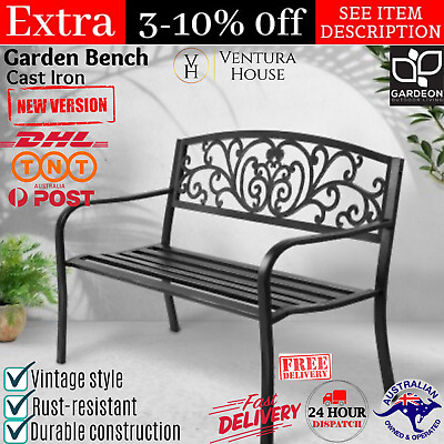 Vintage Garden Bench Outdoor Chair Patio Park Cast Iron Balcony Seat 3 Seater AU