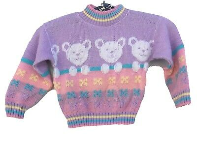 Vintage Teddy Bear Sweater Pastel Acrylic Hot Fudge Made In USA 80s 1980s