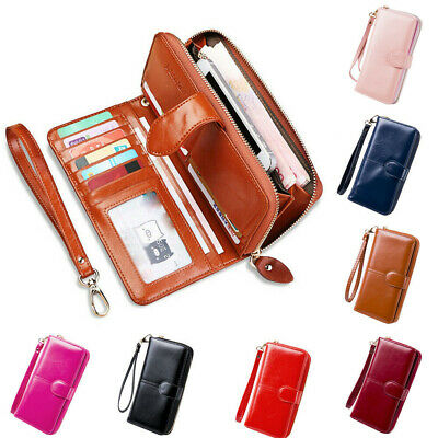 1pc Womens Long Leather Clutch Solid Wallet Large Capacity Purse Card Holder Zip