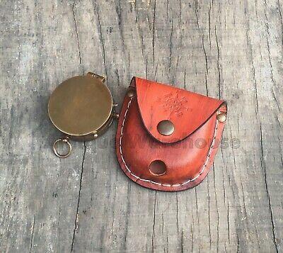 Antique Brass Working Compass With Leather Case Marine Lover Compass Gift