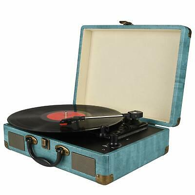 Portable Record Player 3-Speed Bluetooth Briefcase Suitcase Turntable Headphone
