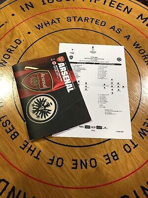 Arsenal v Eintracht Frankfurt, Europa League Programme & Team Sheet, 28/11/19