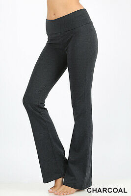 Premium Yoga Pants Stretch Cotton Spandex Fold Over Waistband High Rise Flare