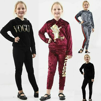 Girls Kids Velour Vogue Unicorn Dab Striped Print Tracksuit Lounge Wear Tops New