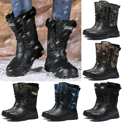 Mens Waterproof Walking Hiking Winter Snow Work Ankle Combat Boots Shoes Size UK