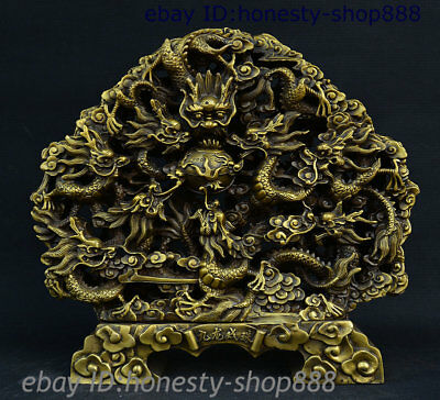 """14"""" China Bronze Copper Fengshui Animal 9 Dragon Loong Play Ball Statue Decorate"""