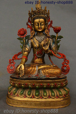 "15"" Tibet Bronze Drawing Color God 7 eyes White Tara spirit of Compassion Statue"