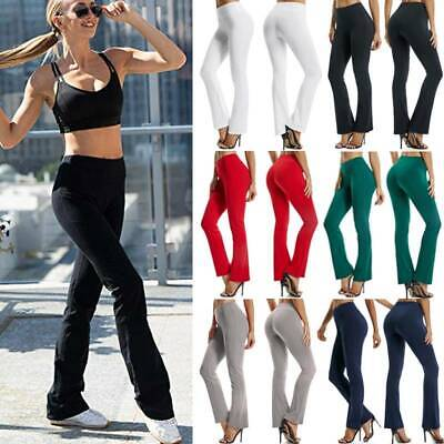 Women's Cotton Fold Over Waist Yoga Pants Flare Bootcut Gym Workout Long Stretch