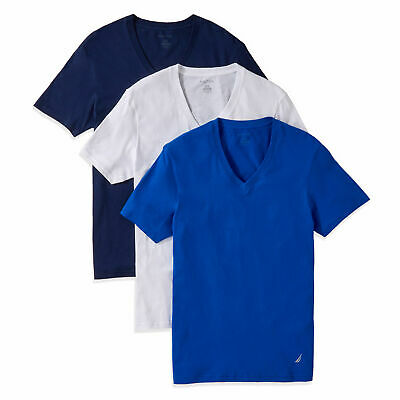 Nautica Mens V-Neck T-Shirts, 3-Pack