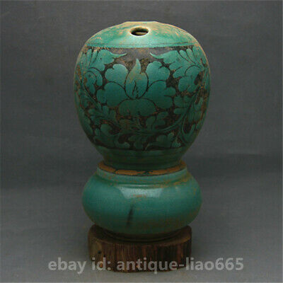 "9.1""Collect Old China Ceramics Pottery Green Glaze Five Holes Flower Vase Bottle"