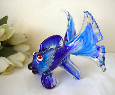 Vintage Murano Art Glass Hand Blown Large Cobalt Blue Fish Figurine Gift