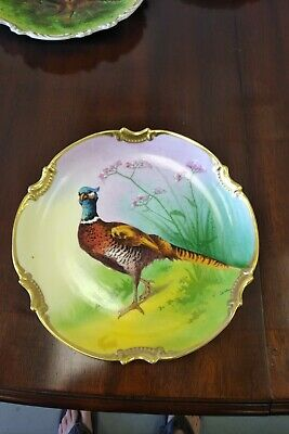 Antique French Hand Painted Game Bird Limoges Coronet Porcelain Plate Signed