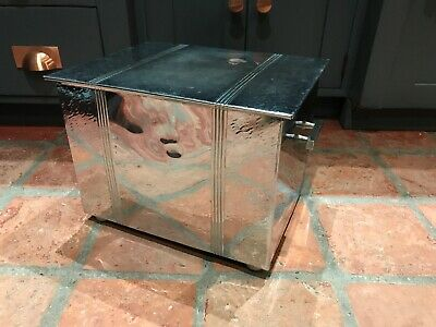 Chrome Art Deco coal Box Coal Bucket Scuttle Log Box With Liner