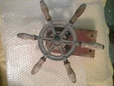 Vintage Wilcox-Crittenden Boat Steering Wheel with rope drum