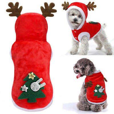 Cute Small Pet Dog Puppy Hoodies Elf Cosplay Warm Costume Xmas Party Outfits