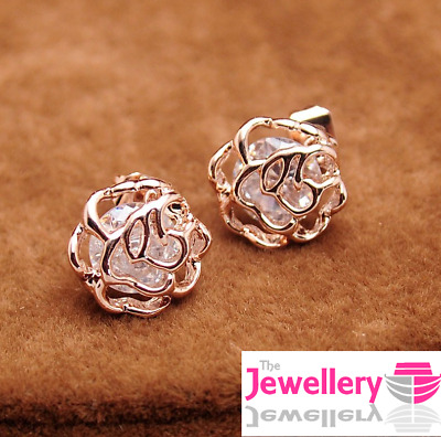 CRYSTALS LADY GIFT BRIDE AF2 Q 925 ROSE GOLD PLATED DAISY RING STACKING 8