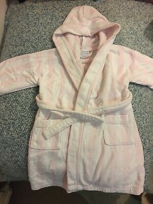 The Little White Company Candy Pink And White Strip Towling Dressing Gown 2-4yr