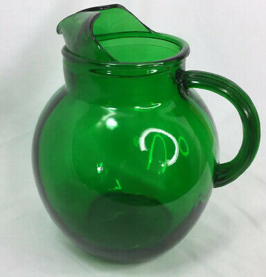 Vintage Anchor Hocking Forest Green Globe Ball Glass Pitcher