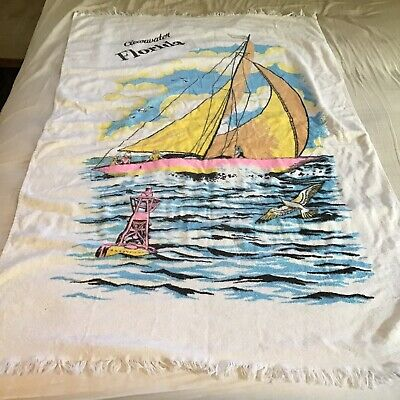 "Vintage Cannon Beach Towel Nautical Sailboat Fringe 58/"" x 34/"" Never Used"